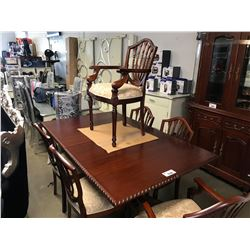 CARVED WOODEN TABLE & 6 CHAIRS