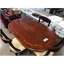 FLORAL PATTERN WOOD DINING TABLE & 4 CHAIRS
