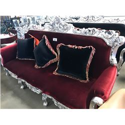 RED CLOTH & SILVER WOOD CARVED SOFA WITH THROW PILLOWS