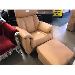 HILKER 1888 LEATHER RECLINING CHAIR WITH FOOTSTOOL (MADE IN GERMANY)