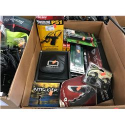 DAISY POWERLINE P51 SLINGSHOT, OCULUS BINOCULARS, DS-750 FLASHLIGHT, POCKET KNIFE, FLY REEL, PRIMOS