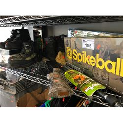 CHILDS TOY SHOTGUN, ASSORTED FOOTWARE, THERMACELL HEATED INSOLES, SPIKEBALL SET, ETC