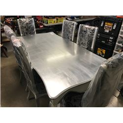 SILVER COLOURED WOOD TABLE & 6 CHAIRS