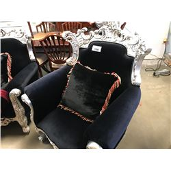 BLACK CLOTH & SILVER WOOD CARVED CHAIR WITH THROW PILLOW