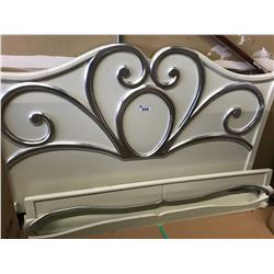 CREAM/SILVER KING BED FRAME (MAY CONTAIN COSMETIC OR FREIGHT DAMAGE-DAMAGED BED RAIL)
