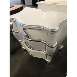 WHITE/SILVER 3 DRAWER WOODEN NIGHT STAND