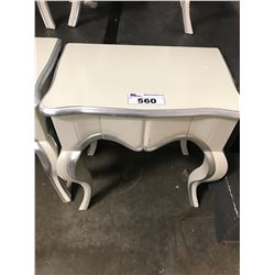 CREAM/SILVER 1 DRAWER WOODEN NIGHT STAND