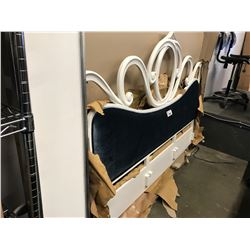 WHITE KINGSIZE WOOD/BLUE CLOTH PADDED HEADBOARD/BEDFRAME (MAY CONTAIN COSMETIC OR FREIGHT DAMAGE)