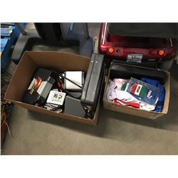 2 BOXES OF ASSORTED SPORTSWEAR, ELECTRONICS, 1000W ELIMINATOR, BRIEFCASE, ETC