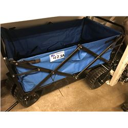 BLUE COLLAPSIBLE FOLDING CART (HANDLE CLIP BROKEN)