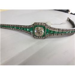 Art Deco 12.00ct Diamond & Emerald Bracelet in 18K Gold