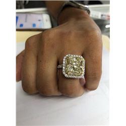 Designer 14.50ct Diamond Ring in Platinum Fancy Yellow