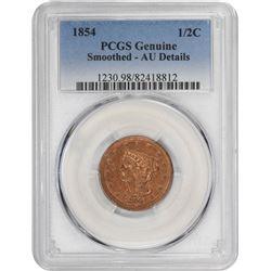 1854 Head 1/2¢. AU-Details PCGS.