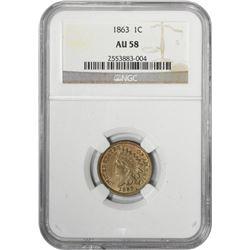 1863 Indian 1¢. AU-58 NGC.