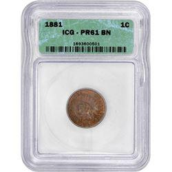 1881 Indian 1¢. ICG.-61 BN ICG.