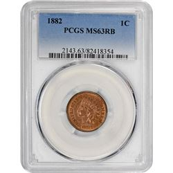 1882 Indian 1¢. MS-63 RB PCGS.