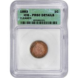 1883 Indian 1¢. Proof-60 Details ICG.