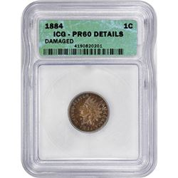 1884 Indian 1¢. Proof-60 Details ICG.