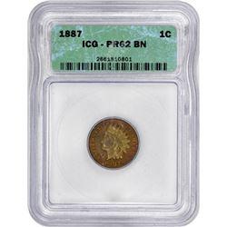 1887 Indian 1¢. Proof-62 BN ICG.