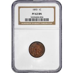 1893 Indian 1¢. Proof-62 BN NGC.