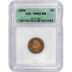 1908 Indian 1¢. Proof-62 RB ICG.