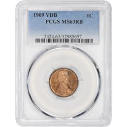1909 VDB Lincoln 1¢. MS-63 RB PCGS.