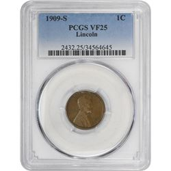 1909-S Lincoln 1¢. VF-25 PCGS.