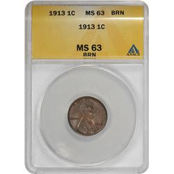 1913 Lincoln 1¢. MS-63 BN ANACS.