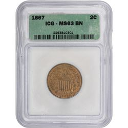 1867 Shield 2¢. MS-63 BN ICG.