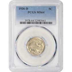 1936-D Buffalo 5¢. MS-64 PCGS.