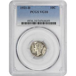 1921-D Mercury 10¢. VG-10 PCGS.