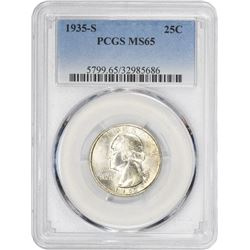 1935-S 1¢ Washington 25¢. MS-65 PCGS.