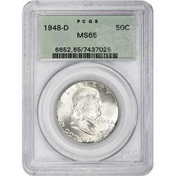 1948-D Franklin 50¢. MS-65 PCGS. GH.