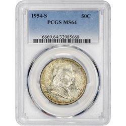 1954-S Franklin 50¢. MS-64 PCGS.