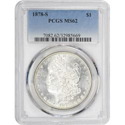 1878-S Morgan 1$. MS-62 PCGS.