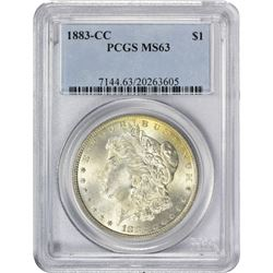 Choice Mint State 1883-CC Morgan $1. 1883-CC Morgan 1$. MS-63 PCGS.