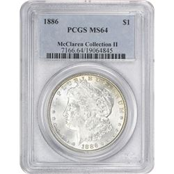 1886 Morgan 1$. MS-64 PCGS.
