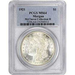 1921 Morgan 1$. MS-64 PCGS.