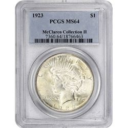 1923 Peace 1$. MS-64 PCGS.