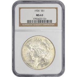 1926 Peace 1$. MS-63 NGC.