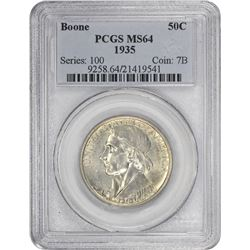1935 Boone 50¢ Commemorative. MS-64 PCGS.