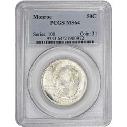 1923 Monroe 50¢ Commemorative. MS-64 PCGS.