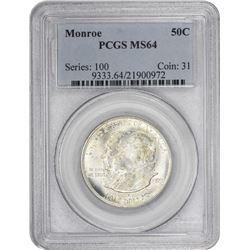 1923 Monroe 50¢ Commemorative. MS-64 PCGS.