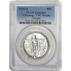1934-D Oregon 50¢ Commemorative. UNC-Details PCGS.