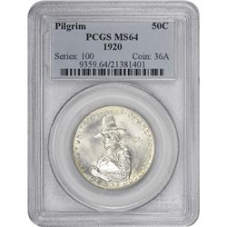 1920 Pilgrim 50¢ Commemorative. MS-64 PCGS.