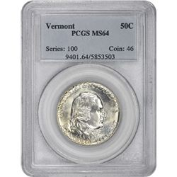 1927 Vermont 50¢ Commemorative. MS-64 PCGS.
