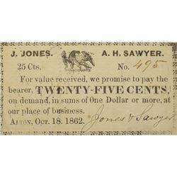 Alton, New Hampshire, J. Jones & A.H. Sawyer. 25 Cent. October 18th, 1862. Very Fine.