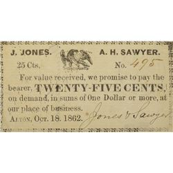 Alton, New Hampshire, J. Jones & A.H. Sawyer. 25 Cent. October 18th, 1862. Very Fine.