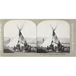 Cosmopolitan Series Stereo Card of a Family of Cheyenne Indians in Wyoming.