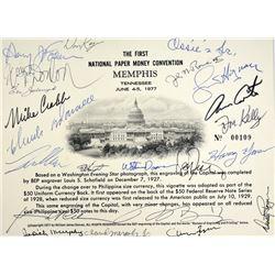 B.E.P. Card from 1st Memphis Paper Money Show. Memphis Tennessee. June 4-5, 1977. Autographed Signat